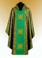 Traditional Chasuble, Stole & Chalice Veil - Cross - in Green