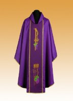 Traditional Chasuble, Stole & Chalice Veil - Rho - Purple