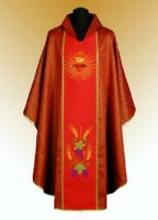 Traditional Chasuble, Stole & Chalice Veil - Sacred Heart - Red