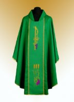 Traditional Chasuble, Stole & Chalice Veil - Rho - Green