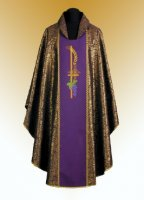 Traditional Chasuble, Stole & Chalice Veil - Eucharistic -Purple