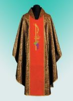 Traditional Chasuble, Stole & Chalice Veil - Eucharistic - Red