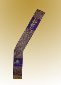 Traditional Deacon Stole Eucharistic Design - Purple