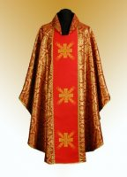 Traditional Chasuble, Stole & Chalice Veil - Cross - in Red