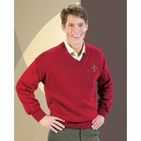 Deacon V-Neck Long Sleeves, Heavy Duty Lo-Pil Acrylic