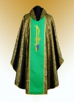 Traditional Chasuble, Stole & Chalice Veil - Eucharistic - Green
