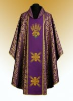 Traditional Chasuble, Stole & Chalice Veil - IHS - in Purple
